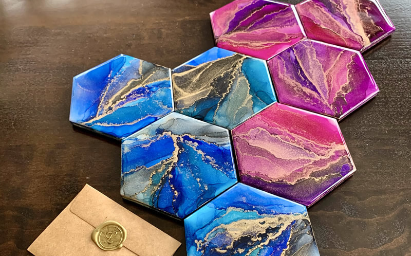 Alcohol Ink art and coaster sets